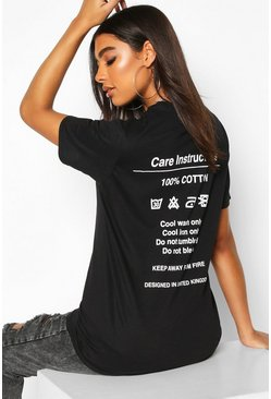Womens Black Tall 'Instruction' Slogan T-Shirt