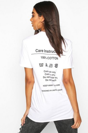Womens White Tall 'Instruction' Slogan T-Shirt