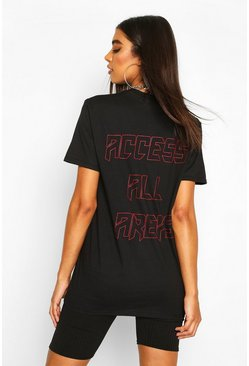 Tall 'Access All Areas' Back Print T-Shirt, Black