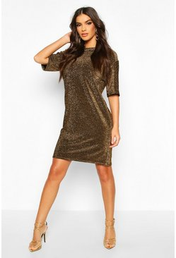 Womens Gold Tall Glitter T-Shirt Dress