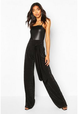 Black Tall Glitter Belted Wide Leg Trousers