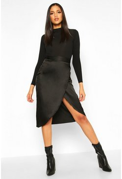 Womens Black Tall Satin Wrap Midi Skirt