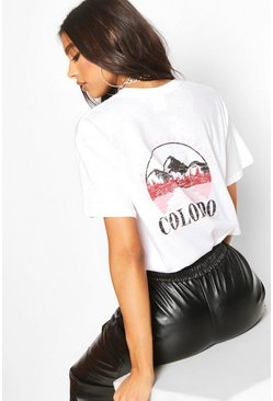Womens White Tall 'Colorado' Graphic T-Shirt