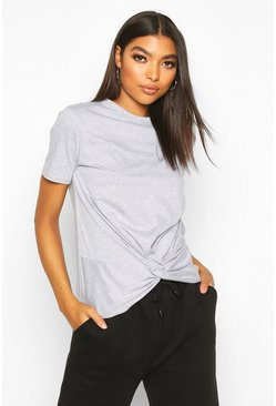 Tall Knot Front T-Shirt, Grey