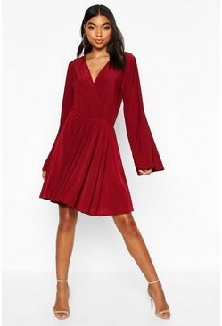 Womens Berry Tall Slinky Kimono Sleeve Skater Dress