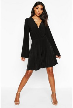 Black Tall Slinky Kimono Sleeve Skater Dress