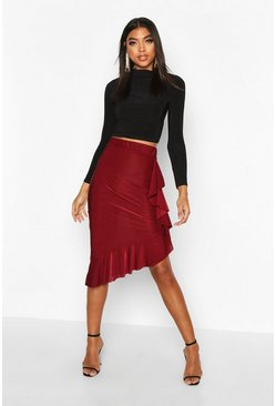 Wine Tall Slinky Frill Hem Midi Skirt