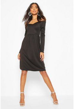 Tall Sweetheart Neck Skater Dress, Black