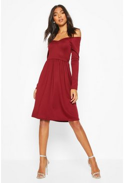 Wine Tall Sweetheart Neck Skater Dress