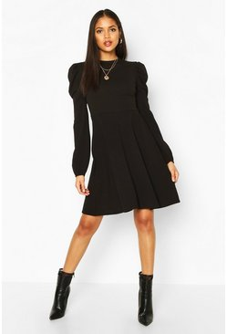 Tall Balloon Sleeve Skater Dress, Black, DAMEN