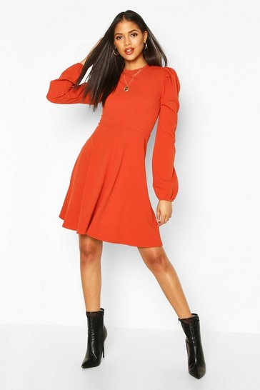 Rust Tall Balloon Sleeve Skater Dress