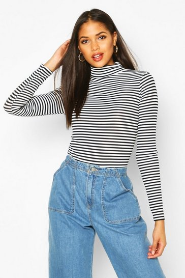 Black Tall High Neck Stripe Rib Bodysuit