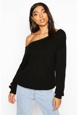 Tall Slash Neck Jumper, Black