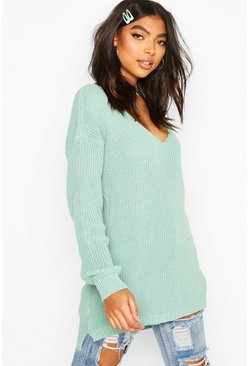 Womens Sage Tall V-Neck Jumper