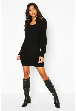 Black Tall V-Neck Sweater Dress