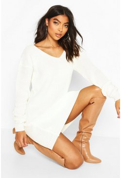 Ecru Tall V-Neck Jumper Dress