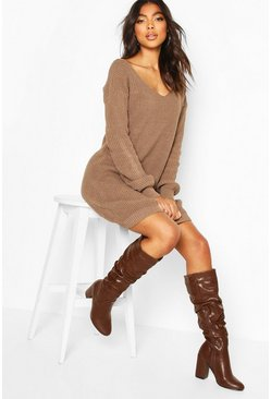 Tall V-Neck Jumper Dress, Mocha