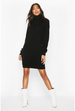 Black Tall Roll Neck Jumper Dress