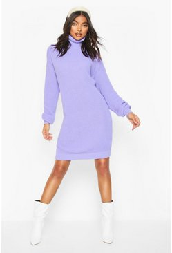Lilac Tall Roll Neck Jumper Dress