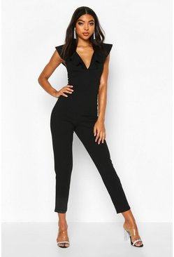 Black Tall Ruffle Plunge Jumpsuit