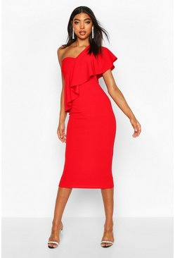 Womens Red Tall Ruffle One Shoulder Midi Dress