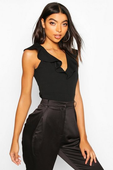 Womens Black Tall Plunge Ruffle Bodysuit
