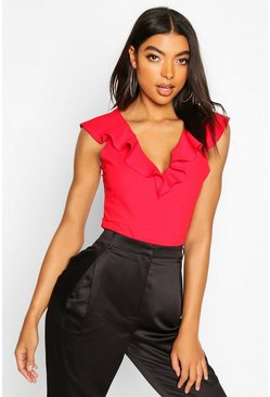 Womens Red Tall Plunge Ruffle Bodysuit