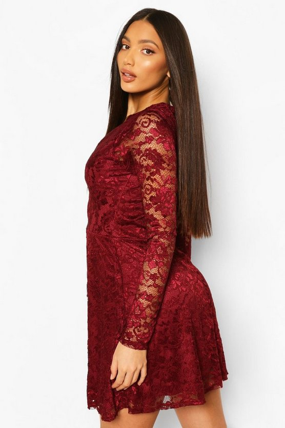 Tall Plunge Lace Skater Dress
