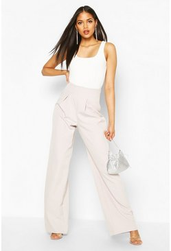 Grey Tall Pleated High Waisted Wide Leg Trousers