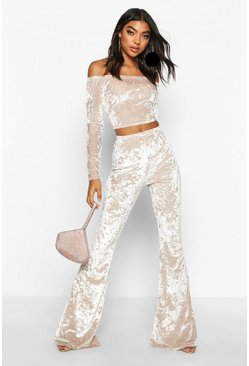 Womens Champagne Tall Crushed Velvet Flares
