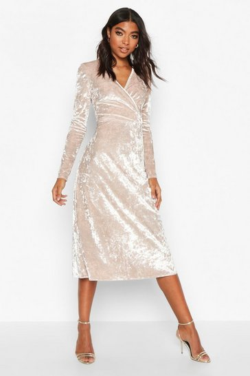 Womens Champagne Tall Crushed Velvet Wrap Midi Dress