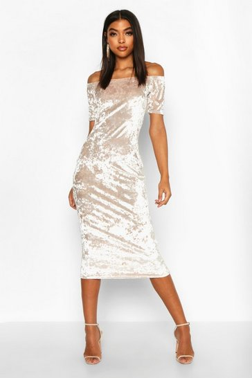 Womens Champagne Tall Crushed Velvet Bardot Midi Dress