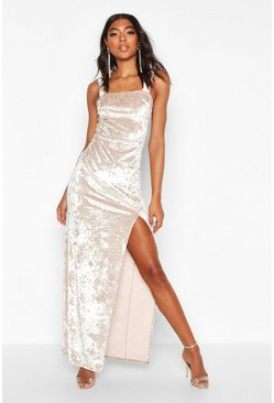 Womens Champagne Tall Crushed Velvet Side Split Maxi Dress