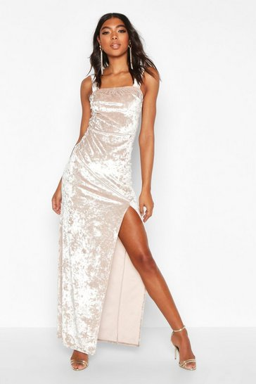 Champagne Tall Crushed Velvet Side Split Maxi Dress