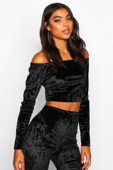 Black Tall Crushed Velvet Off Shoulder Crop Top