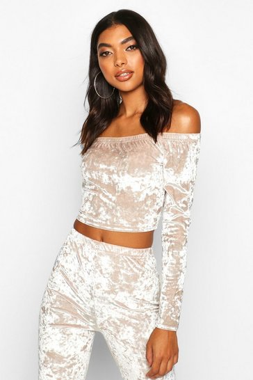 Womens Champagne Tall Crushed Velvet Off Shoulder Crop Top