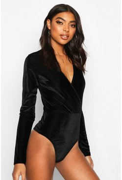 Black Tall Wrap Rib Velvet Bodysuit