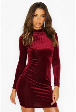 Womens Berry Tall Rib Velvet High Neck Bodycon Dress