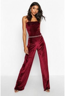 Tall Rib Velvet Wide Leg Trousers, Berry