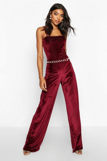 Berry Tall Rib Velvet Wide Leg Trousers