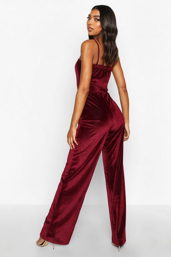 Tall Rib Velvet Wide Leg Trousers