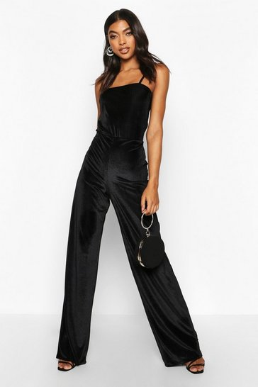 Black Tall Rib Velvet Wide Leg Trousers