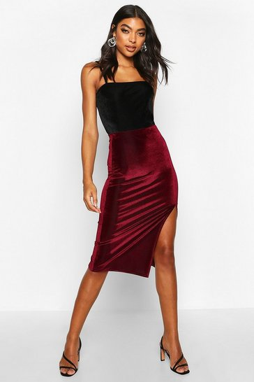 Womens Berry Tall Thigh Split Rib Velvet Midi Skirt