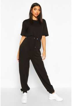 Black Tall Sweat Lounge Jumpsuit