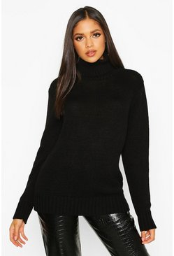 Black Tall Roll Neck Soft Knit Jumper