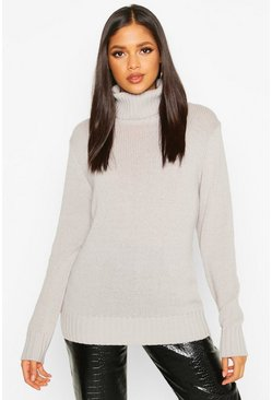Womens Silver Tall Roll Neck Soft Knit Jumper