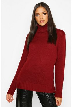 Wine Tall Roll Neck Soft Knit Jumper