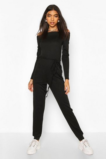 Black Tall Rib Knit Off The Shoulder Jumpsuit