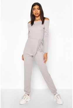 Tall Rib Knit Off The Shoulder Jumpsuit, Grey