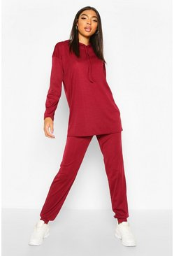 Womens Wine Tall Rib Knit Hoody & Jogger Lounge Set